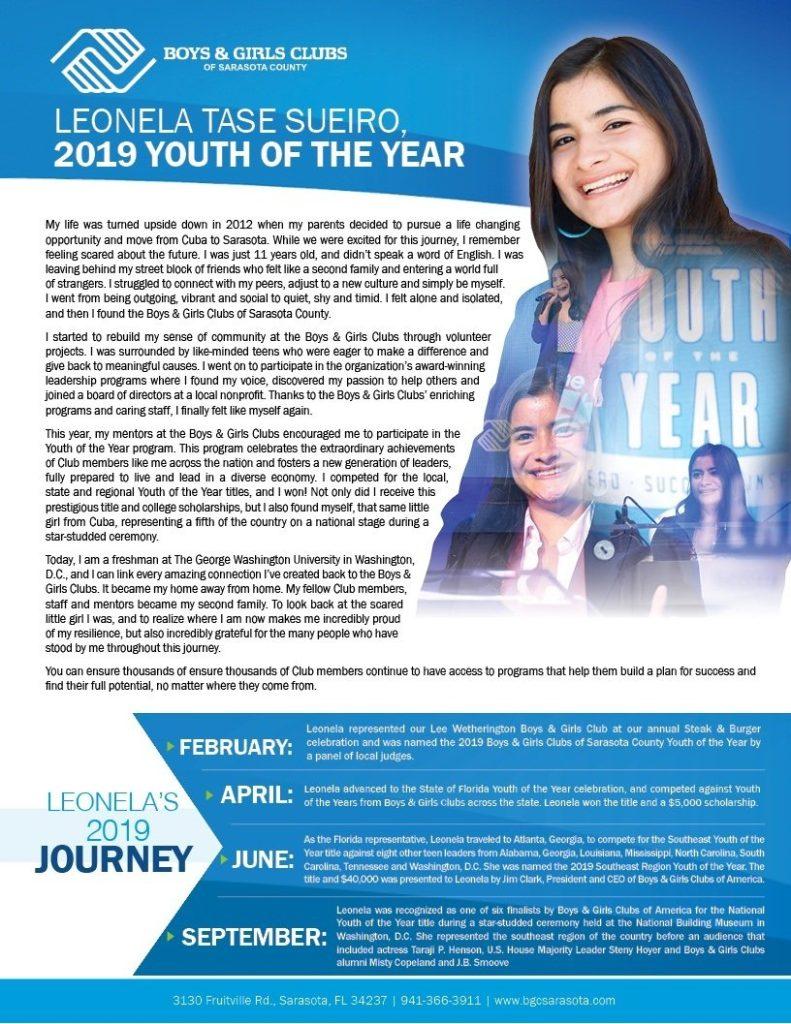 Leonela Tase Suerito 2019 Youth of the Year poster